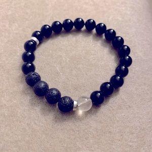 Black essential oil carrier bead bracelet